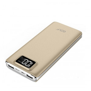 GOLF Power Bank LCD-120 12000mAh, με οθόνη, 2x USB, Micro - 8pin, Gold LCD120-GD