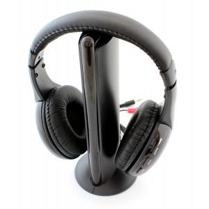 Ασύρματα ακουστικά MH2001 με FM tuner, 3.5mm, μαύρα MH2001