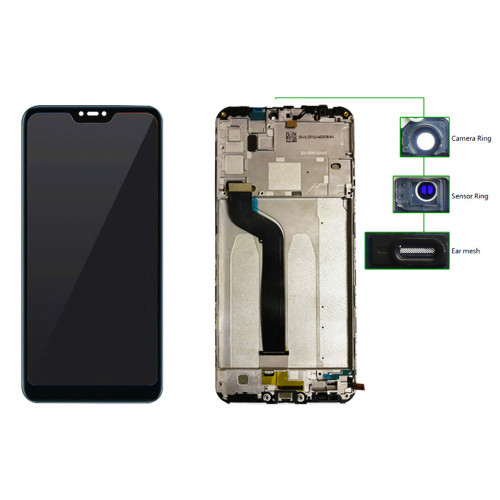 LCD για Xiaomi Mi A2 Lite, Camera-Sensor ring, ear mesh, frame, μαύρη MLCD-018