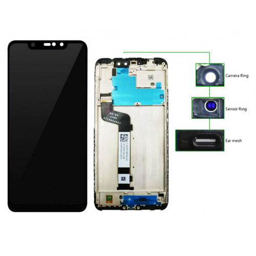 LCD για Xiaomi Redmi note 6 pro, Camera-Sensor ring, ear mesh, frame, μαύρη MLCD-019