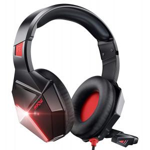 MPOW gaming headset EG10 BH414A LED, multiplatform, 3.5mm, μαύρο-κόκκινο MPBH414AR