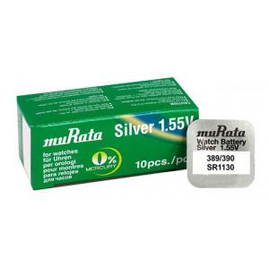MURATA μπαταρία Silver Oxide για ρολόγια SR1130, 1.55V, No389/390, 10τμχ MR-SR1130