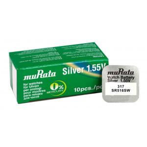 MURATA μπαταρία Silver Oxide για ρολόγια SR516SW, 1.55V, No317, 10τμχ MR-SR516SW