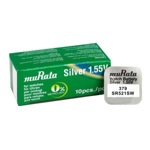 MURATA μπαταρία Silver Oxide για ρολόγια SR521SW, 1.55V, No379, 10τμχ MR-SR521SW