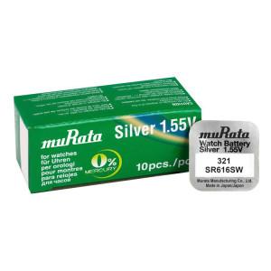 MURATA Μπαταρία λιθίου για ρολόγια SR616SW, 1.55V, No 321, 10τμχ MR-SR616SW