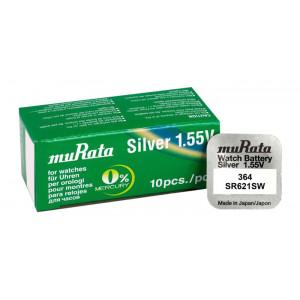 MURATA Μπαταρία λιθίου για ρολόγια SR621SW, 1.55V, No 364, 10τμχ MR-SR621SW