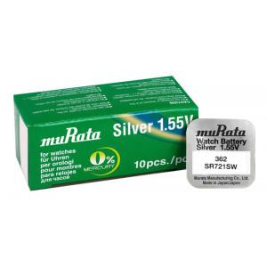 MURATA μπαταρία Silver Oxide για ρολόγια SR721SW, 1.55V, No 362, 10τμχ MR-SR721SW