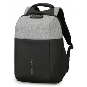 MARK RYDEN τσάντα πλάτης MR6768, με θήκη laptop 15.6, λουκέτο TSA, γκρι MR6768-11