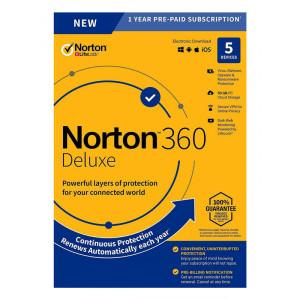 NORTON Antivirus 360 Deluxe ESD, 5 συσκευές, 50GB cloud, 1 έτος N360-ESD-2