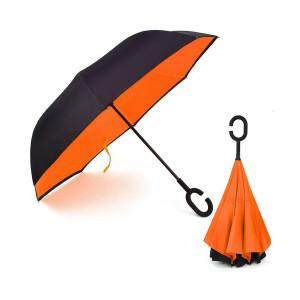 Ομπρέλα Kazbrella αντίστροφης δίπλωσης, λαβή σχήματος C, αυτόματος μηχανισμός, θήκη, πορτοκαλί PB23-022-OR