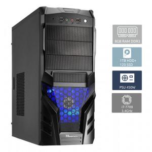 POWERTECH Έτοιμος Η/Υ, i7-7700, 8GB RAM, 1TB HDD + 120GB SSD, DVD-RW