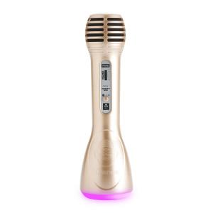 IDANCE Ασύρματο Bluetooth μικρόφωνο PM6GD, LED, επαναφορτιζόμενο, χρυσό PM6GD