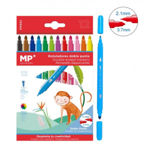 MP σετ χρωματιστών μαρκαδόρων με διπλή μύτη 2.1 & 3.7mm PP861, 12τμχ PP861