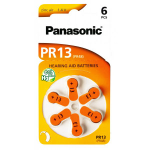 PANASONIC μπαταρίες ακουστικών βαρηκοΐας PR13, mercury free, 1.4V, 6τμχ PR13
