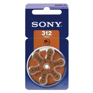 SONY μπαταρίες ακουστικών βαρηκοΐας PR312, mercury free, 1.4V, 6τμχ PR312-D6