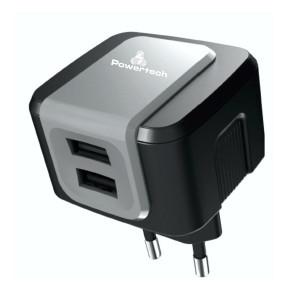 POWERTECH Φορτιστης PT-505, 2x USB, 2.4A, Black PT-505