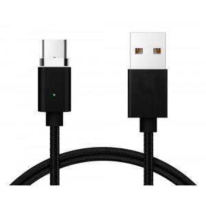 POWERTECH Καλώδιο USB 2.0 σε Type-C, Μαγνητικό, 1m, Black PT-548