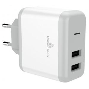 POWERTECH Φορτιστής Τοίχου PT-710, 2x USB, 10W, 2.1A , λευκό PT-710