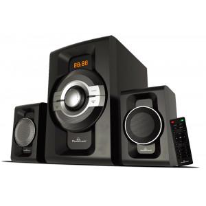 POWERTECH Ηχεία 2.1ch Bluetooth, 60W RMS, AUX/FM, τηλεχειριστήριο, μαύρα PT-746