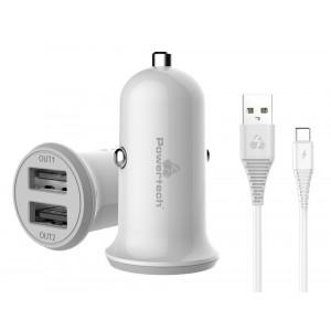 POWERTECH Φορτιστής αυτοκινήτου & καλώδιο Type-C PT-773, 2x USB, 3.4A PT-773