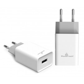 POWERTECH Φορτιστής τοίχου PT-780, 1x USB, 20W, 4A, QC 3.0, λευκός PT-780