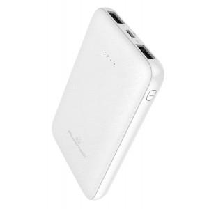 POWERTECH Power Bank PT-800 5000mAh, 2x USB Output, 2.1A, λευκό PT-800