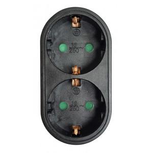 POWERTECH αντάπτορας ρεύματος PT-821, 2x schuko, 250V 16A, μαύρος PT-821