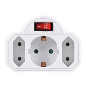 POWERTECH αντάπτορας ρεύματος PT-826, 1x schuko, 2x euro, 16A, λευκός PT-826