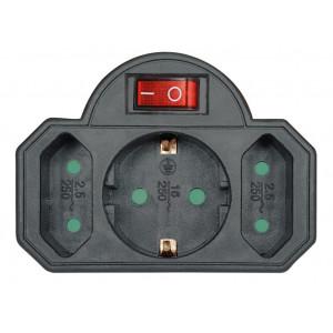 POWERTECH αντάπτορας ρεύματος PT-827, 1x schuko, 2x euro, 16A, μαύρος PT-827