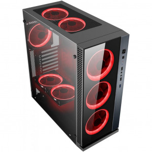 POWERTECH Gaming case PT-903, tempered glass, 4x Dual ring RGB fans PT-903