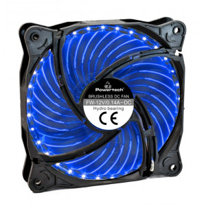 POWERTECH LED ανεμιστήρας PT-907, 120mm, 3pin/molex & 4 βίδες, μπλε PT-907