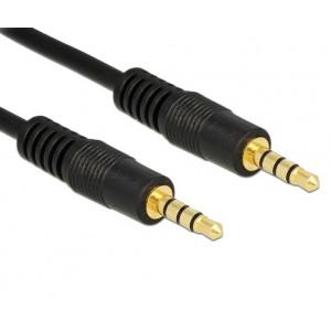 Powertech καλώδιο Jack 3.5mm M-M, 4 pin, OD: 4.0mm, 0,50m, μαύρο PTR-0068