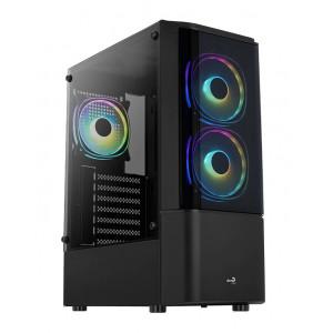 AEROCOOL PC case mid tower QUANTUM-G, 206x450x360mm, 3x FRGB fan, μαύρο QUANTUM-G-BK-V2
