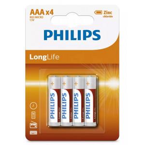PHILIPS LongLife Zinq chloride μπαταρίες R03L4B/10 AAA R03 Micro, 4τμχ R03L4B-10