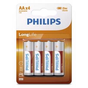 PHILIPS LongLife Zinq chloride μπαταρίες R6L4B/10 AA R6 Mignon, 4τμχ R6L4B-10