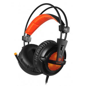 SADES Gaming Headset A6, multiplatform, USB, LED, μαύρα SA-A6-OR