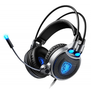 SADES gaming headset SA-R1, USB, 50mm, 7.1CH, LED, μαύρο SA-R1