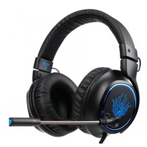 SADES gaming headset SA-R6, USB, 50mm, 7.1CH, LED, μαύρο SA-R6