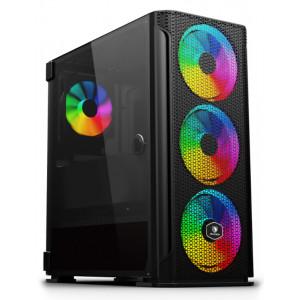 SADES PC case YU mid tower 396x210x453mm, 4x fan, διάφανο πλαϊνό, μαύρο SA-YUAK1