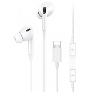 USAMS earphones με μικρόφωνο EP-41, Lightning, 10mm, 1.2m, λευκά SJ453HS01