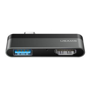 USAMS USB Type-C hub SJ462, 1x USB 3.0, 1x HDMI, 4K, γκρι SJ462HUB01