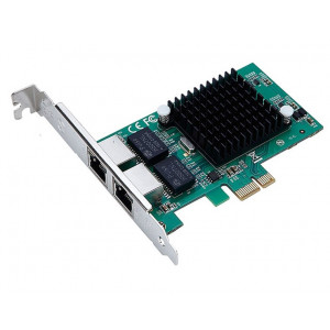 POWERTECH Κάρτα Επέκτασης PCI-e to 2x LAN 10/100/1000, Chip Intel 82575 SLOT-022