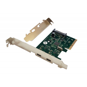 POWERTECH Κάρτα Επέκτασης PCI-e σε 2x USB 3.1 Type C, Chipset ASM1142 SLOT-028
