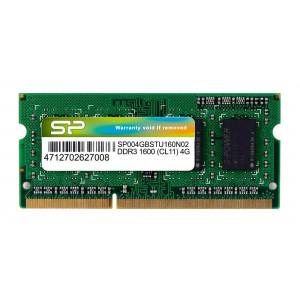 SILICON POWER Μνήμη DDR3 UDimm, 4GB, 1600MHz, PC3-10600, CL11 SP004GBSTU160N02