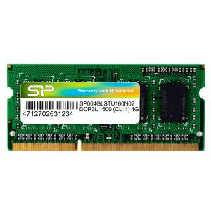 SILICON POWER Μνήμη DDR3L SODimm , 4GB, 1600MHz, PC3L-12800, CL11, 1.35v SP004GLSTU160N02