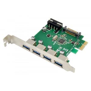 POWERTECH κάρτα επέκτασης PCIe σε 4x USB 3.0 ST66, VL805 + RTL8153 ST66