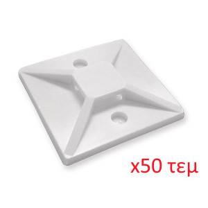 POWERTECH Tie Wrap Sticky Pads, 30 x 30, 50τεμ, White TIES-004