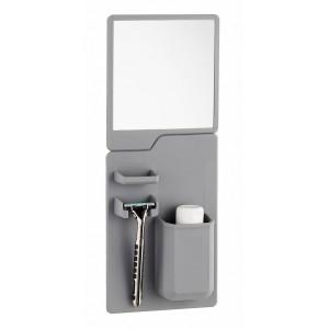 Σετ καθρέπτης και θήκη οδοντόβουρτσας από σιλικόνη TMV-0001, γκρι TMV-0001