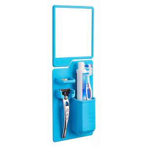 Σετ καθρέπτης και θήκη οδοντόβουρτσας από σιλικόνη TMV-0002, μπλε TMV-0002