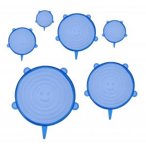 Σετ σιλικονούχων καπακιών για δοχεία τροφίμων TMV-0003, 6τμχ, μπλε TMV-0003